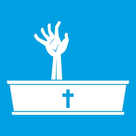 Zombie hand coming out of his coffin icon white isolated on blue background vector illustration Illustration