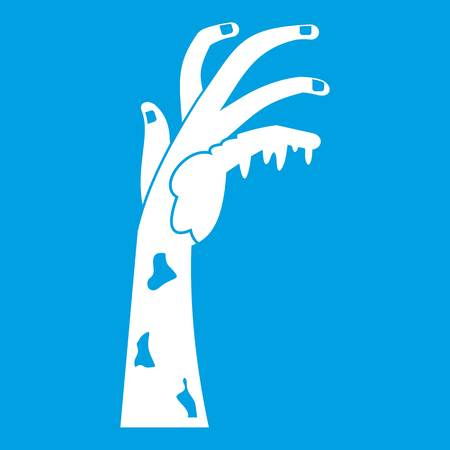 Zombie hand icon white isolated on blue background vector illustration