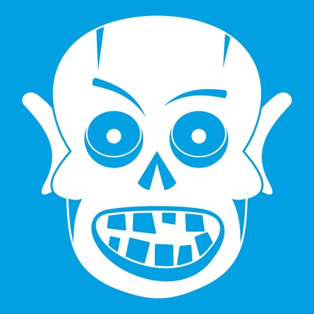 Living dead icon white isolated on blue background vector illustration
