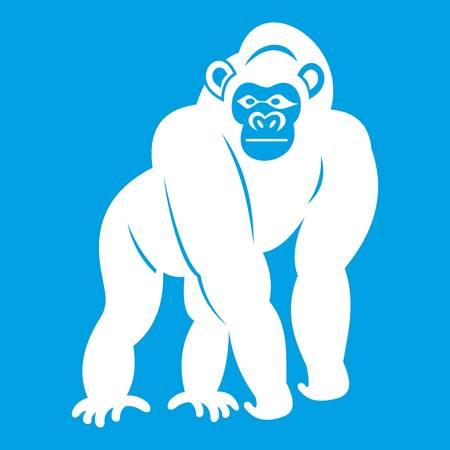 Bonobo icon white isolated on blue background vector illustration