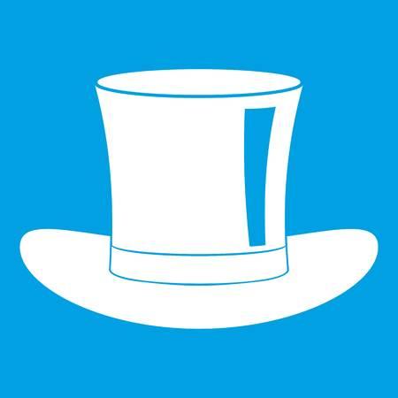 Silk hat icon white Illustration