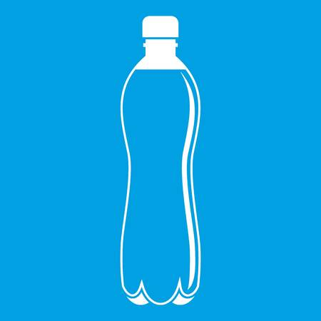 Water bottle icon white isolated on blue background vector illustration