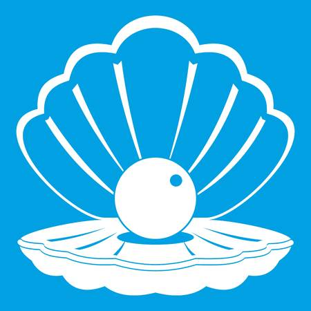 Pearl in a sea shell icon white isolated on blue background vector illustration Illustration