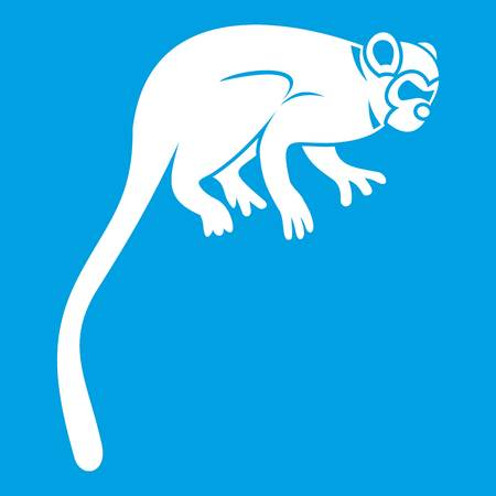Marmoset monkey icon white isolated on blue background vector illustration Illustration