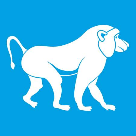 Japanese macaque icon white isolated on blue background vector illustration