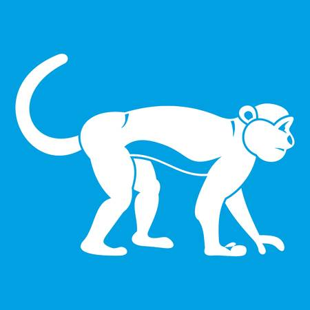 Macaque icon white isolated on blue background vector illustration