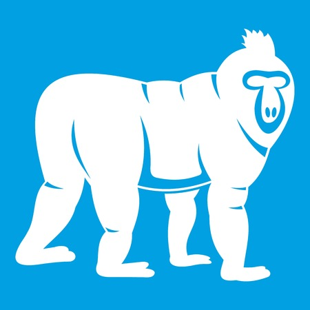 Mandrill monkey icon white isolated on blue background vector illustration