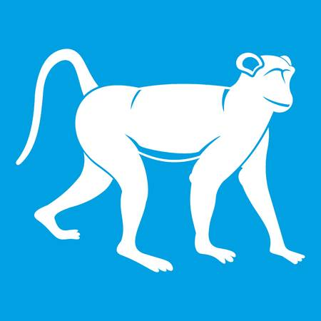 Monkey icon white isolated on blue background vector illustration