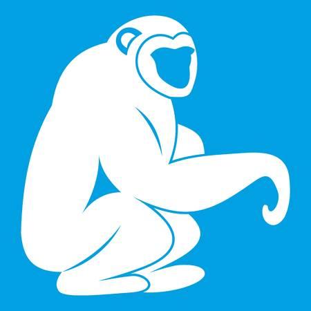 Monkey sitting icon white isolated on blue background vector illustration
