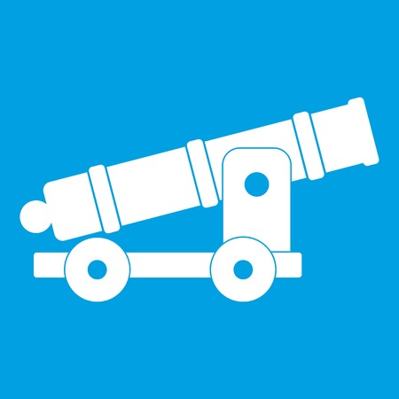 Cannon icon white isolated on blue background vector illustration