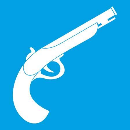 Gun icon white isolated on blue background vector illustration Illustration