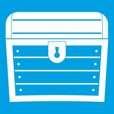 money packs: Chest icon white isolated on blue background vector illustration