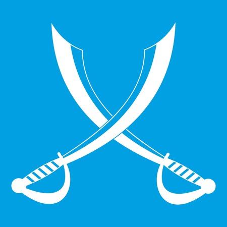 Crossed sabers icon white isolated on blue background vector illustration Çizim