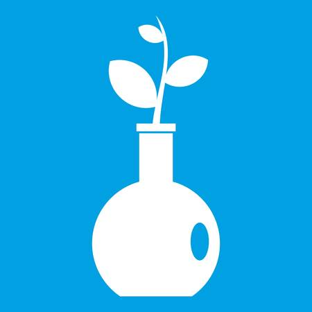 Plant in a vase icon white isolated on blue background vector illustration