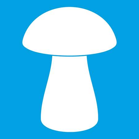 Fungus boletus icon white isolated on blue background vector illustration