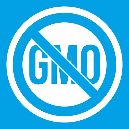 modification: Stop GMO icon white isolated on blue background vector illustration