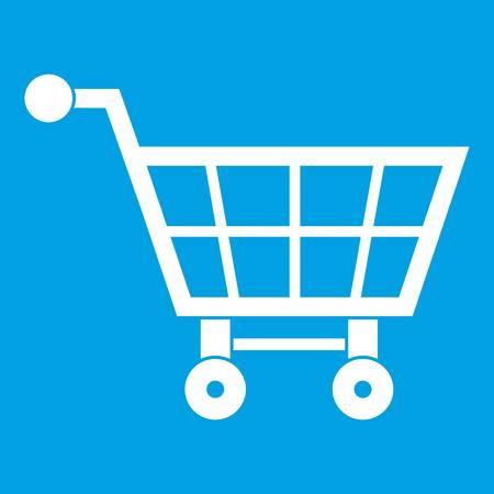 Shopping cart icon white isolated on blue background vector illustration Illustration