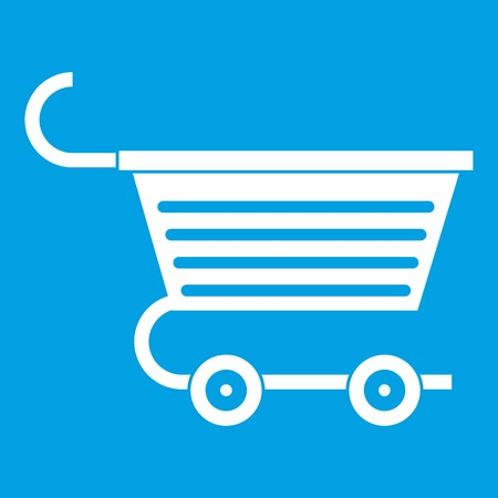 Shopping trolley icon white isolated on blue background vector illustration