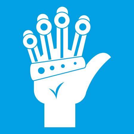 Vr manipulator icon white isolated on blue background vector illustration Illustration