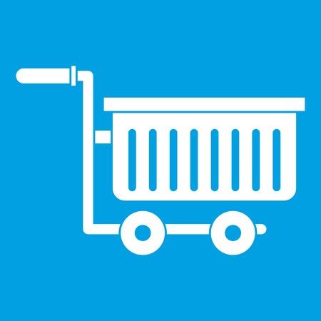 chrome: Large plastic supermarket cart icon white isolated on blue background vector illustration