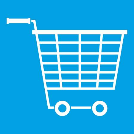 Empty supermarket cart with plastic handles icon white isolated on blue background vector illustration