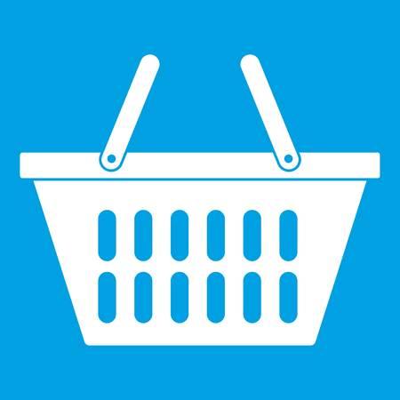 Plastic shopping basket icon white isolated on blue background vector illustration