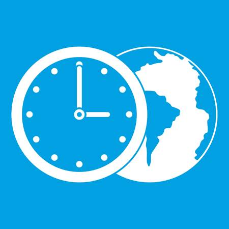 World planet with watch icon white isolated on blue background vector illustration Illustration