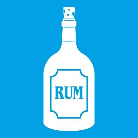 bourbon: Rum icon white isolated on blue background vector illustration Illustration