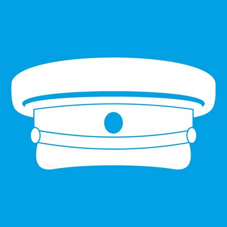 Military hat icon white isolated on blue background vector illustration