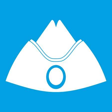 Forage cap icon white isolated on blue background vector illustration Çizim