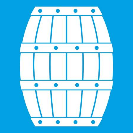 Barrel icon white isolated on blue background vector illustration