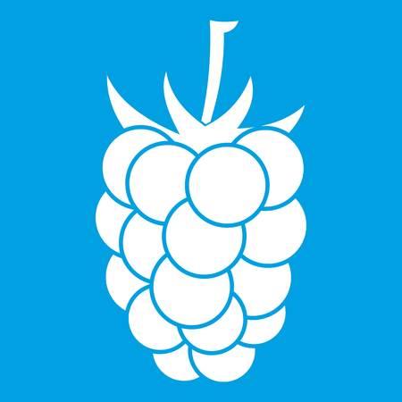 dewberry: Blackberry fruit icon white isolated on blue background vector illustration