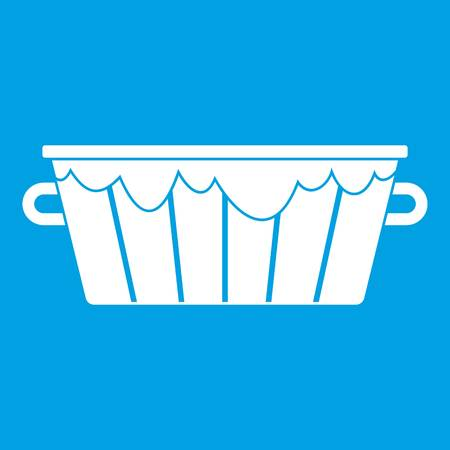 steel drum: Wooden tub icon white isolated on blue background vector illustration
