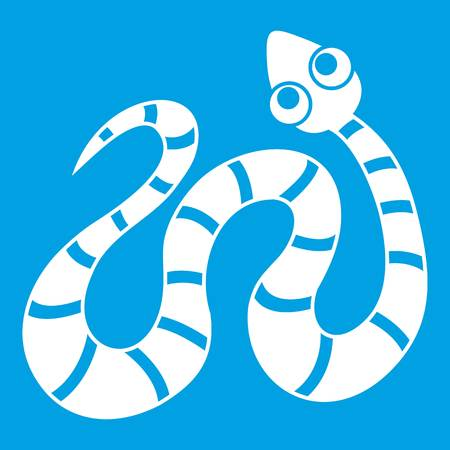asp: Striped snake icon white isolated on blue background vector illustration