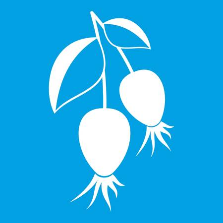 Dogrose berries branch icon white isolated on blue background vector illustration