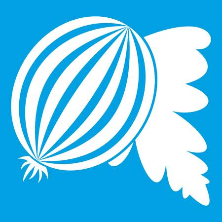 Gooseberry with leaves icon white isolated on blue background vector illustration