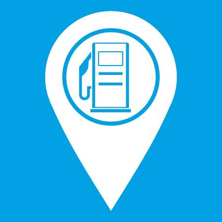 road position: Map pointer with gas station symbol icon white isolated on blue background vector illustration