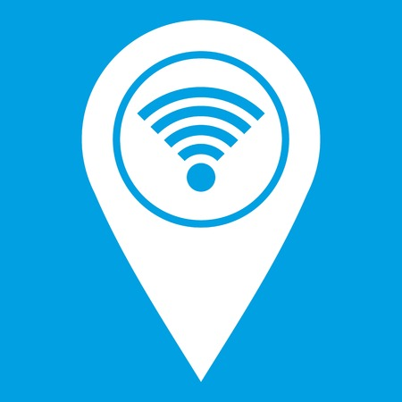 Map pin pointer with wifi symbol icon white isolated on blue background vector illustration Illustration