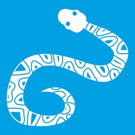 Snake icon white isolated on blue background vector illustration