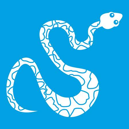 Spotted snake icon white isolated on blue background vector illustration