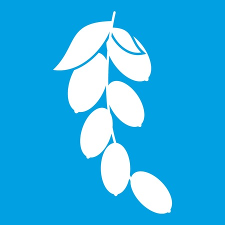 Branch of cornel or dogwood berries icon white isolated on blue background vector illustration Illustration