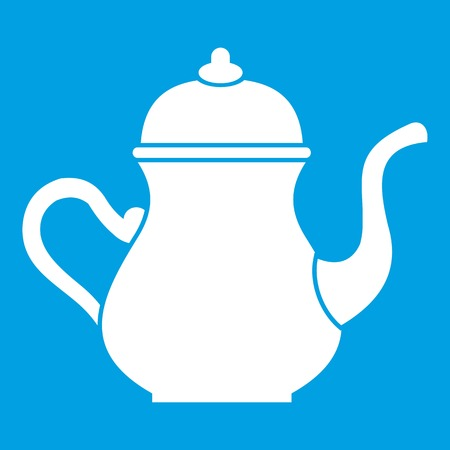 middle eastern food: Traditional Turkish teapot icon white isolated on blue background vector illustration