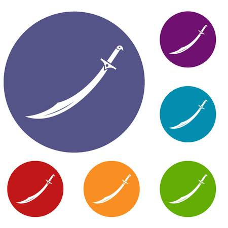 Scimitar sword icons set in flat circle red, blue and green color for web
