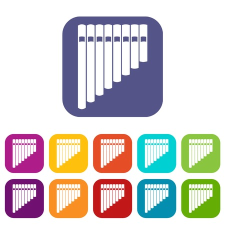 zampona: Pan flute icons set vector illustration in flat style in colors red, blue, green, and other
