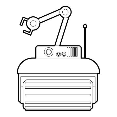 funny robot: Robot crane icon in outline style isolated on white vector illustration