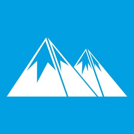 Bergen met het wit van het sneeuwpictogram op blauwe vectorillustratie wordt geïsoleerd die als achtergrond