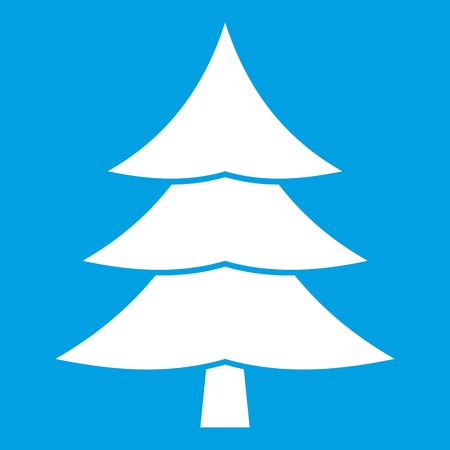 Fir tree icon white isolated on blue background vector illustration