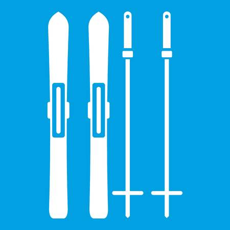 Skis and ski poles icon white isolated on blue background vector illustration Vetores