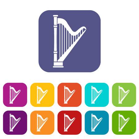 Harp icons set vector illustration in flat style in colors red, blue, green, and other Illustration