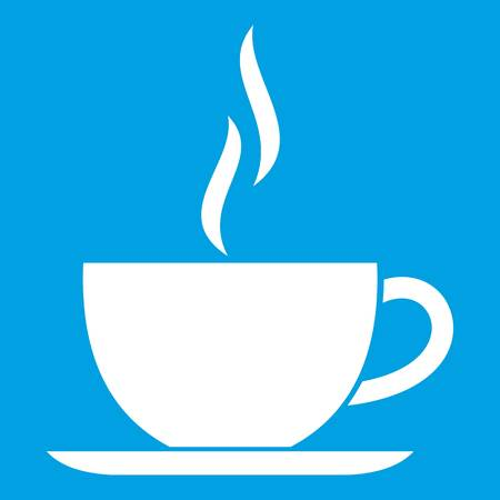 Cup of hot drink icon white isolated on blue background vector illustration